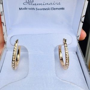 NIB 18k gold hoops with Swarovski diamonds